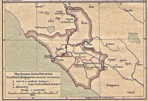 Suburbální biskupství Říma v 12. stol.